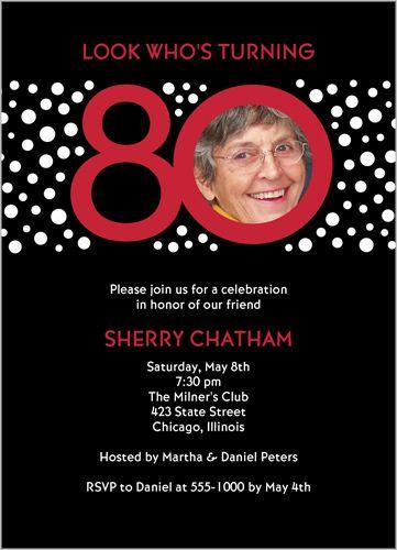 Look Who's 80 Birthday Invitation