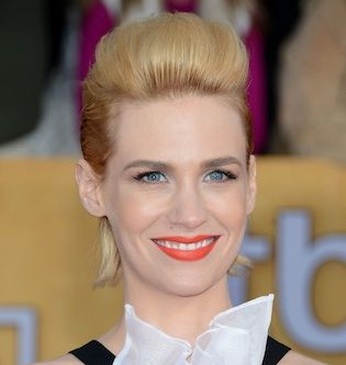 """January Jones' hair is falling out, and she thinks she's going to start wearing a wig as a solution. """"I have been every color and now my hair is falling out in clumps,"""" she says."""