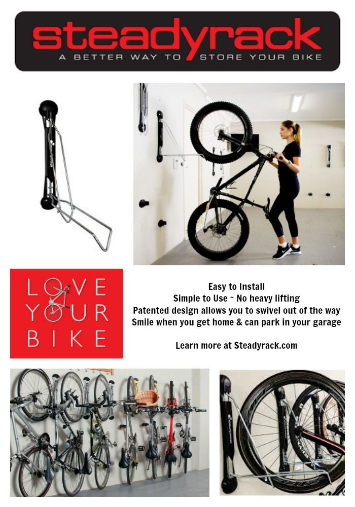 This is the best Bike Storage System on the market!  There are 3 Patented Steadyrack Bike Racks ready to easily store your bike up and out of the way so you can park your car in your own garage (something I couldn't do for years)!  The Steadyrack Classic Rack fits most normal bikes, the Steadyrack Fender Rack fits bikes with fenders, and the Steadyrack Fat Rack fits bikes with fat tires.  Learn more at www.steadyrack.com