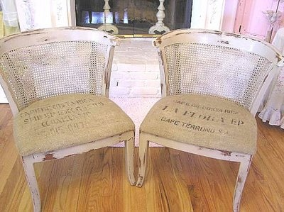 Pair French Cane Back Chairs With Burlap Seat Covers