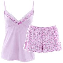 Laura Ashley Pink Striped Short Pajamas for Women