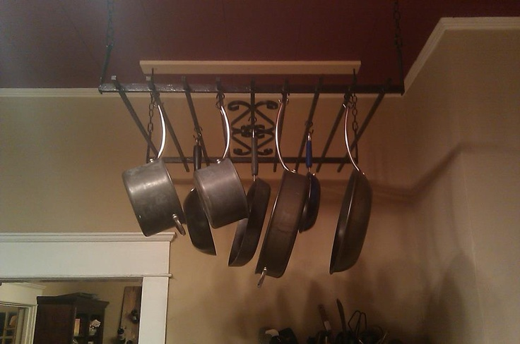 This is a pot rack i made from an antique iron gate i for Reclaimed wood pot rack