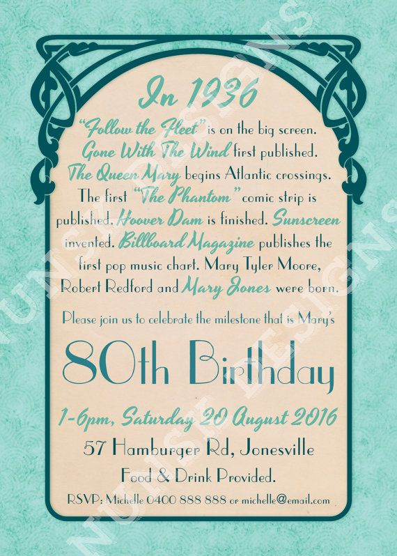 Impress your family and friends with this custom designed 80th Birthday Party Invitation, complete with fun facts for the year of birth! All
