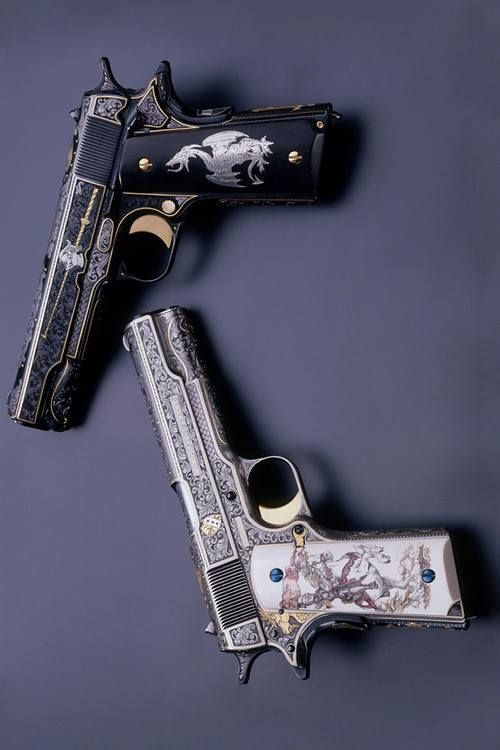 "Steampunk Tendencies | ""The White & Black Knights"" 1911 A1 .45 Autos By Mike Dubber Engraving Studio"