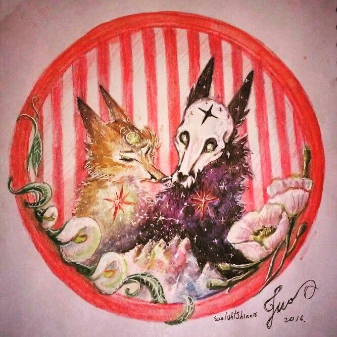 Две лисы. Где день и ночь встречаются на вершине горы. Надеюсь заказанная работа понравится @ksu_ksu47 #day #night #mountains #dayandnight #день #ночь #горы #деньиночь #лисы #любовь #foxes #fox #love #рисование #акварель #работа #картина #искусство #вк #instagram #instagood #fb #deviantart #pinterest  #арт #няшки #полоски #космос #звёзды #бесконечность #star