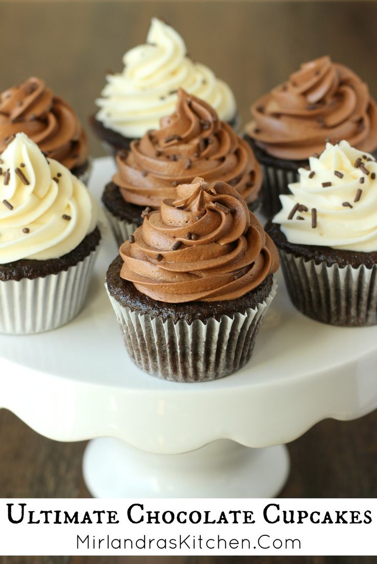 These Ultimate Chocolate Cupcakes are chocolaty, moist and basically perfect! Top them with vanilla buttercream or chocolate buttercream for dessert heaven.  They are also wickedly easy for a from scratch cupcake.