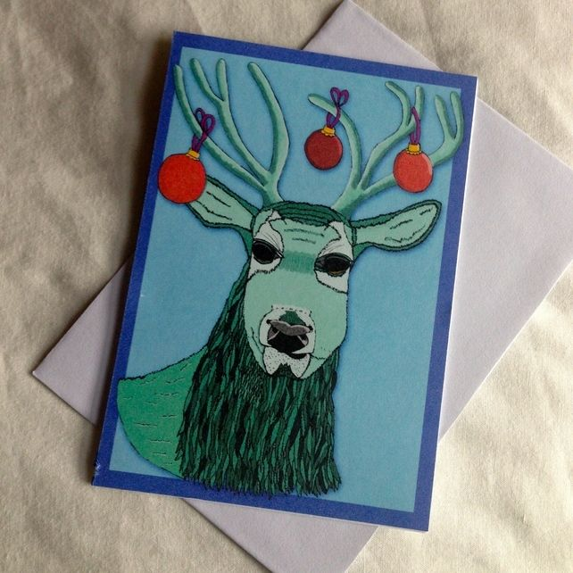 A6 Christmas Stag (Blue Background) Greeting Card  £2.00