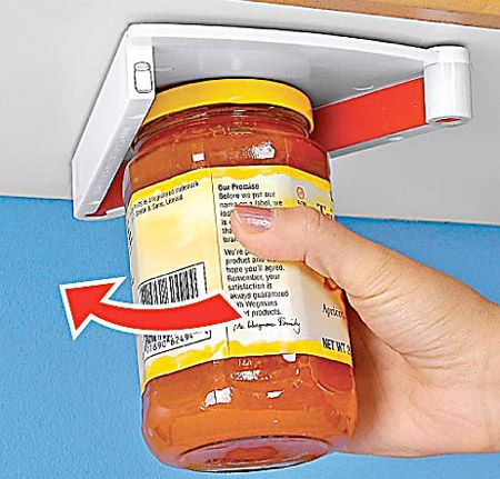Jar Opener Magic Twist jar opener simply mounts under any kitchen cabinet.