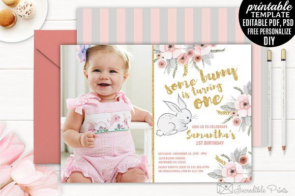 Bunny First Birthday Invitation by Incredible Prints on @creativemarket