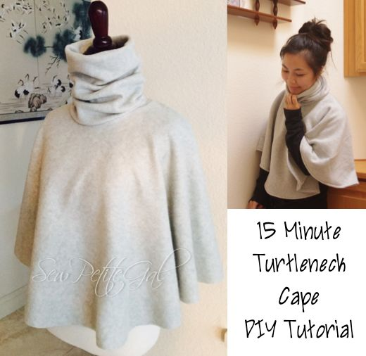 This tutorial is perfect for beginner sew-ists.  It consists of 2 simple shapes sewn together with 2 seams. 15-Minute Turtleneck Cape DIY Tutorial Difficulty: Very Easy Time: ~15 minutes Materials: 1.5 yards Fleece or heavy knit fabric Bonus: Fleece does...