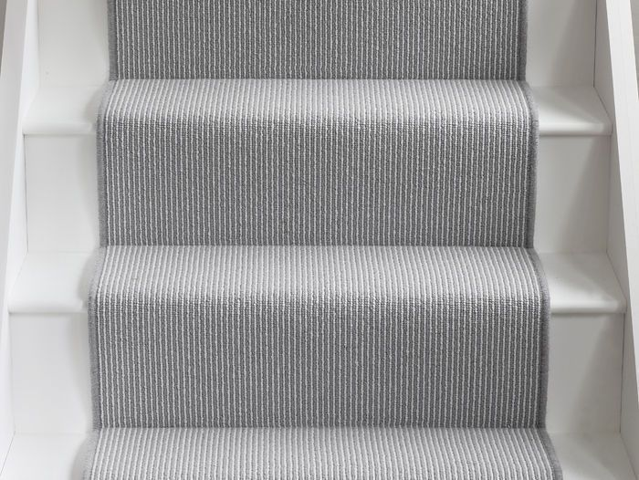 Image result for white staircase with grey runner