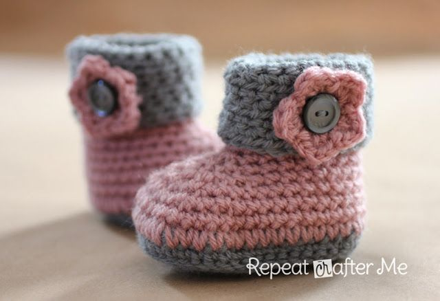 cuffed baby boot booties crochet pattern {This site has dozens of the cutest baby bootie patterns FREE for boots, moccasins, sneakers, rain boots, cowboy boots, mary janes, etc}
