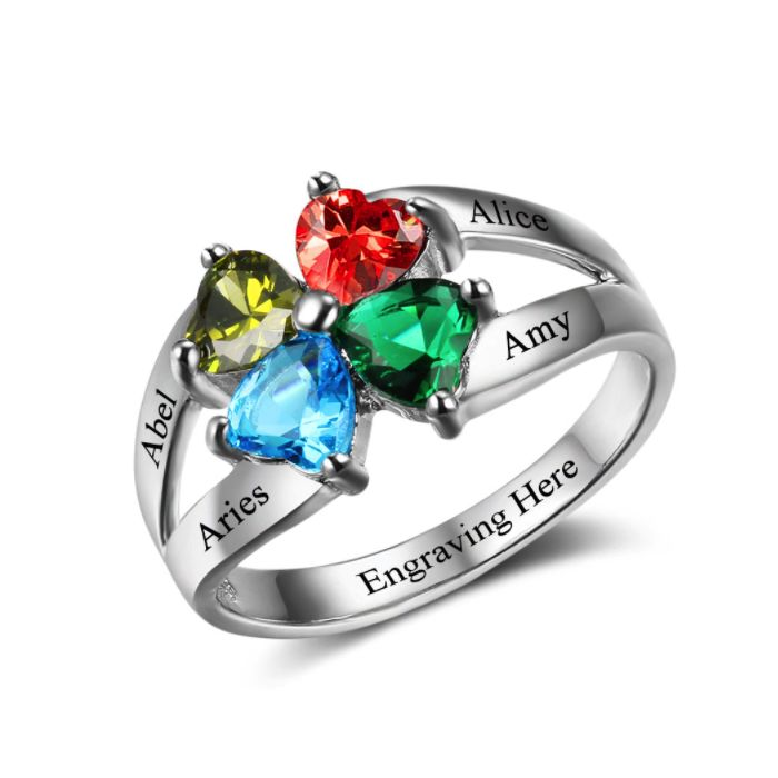 Post Included to most locations Worldwide! >>> Lucky Hearts Personalised Cluster Ring - 925 Sterling Silver