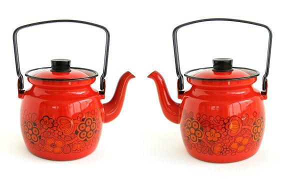 Finel Red Enamel Flower Teapot Kettle / Arabia by WestCoastModern