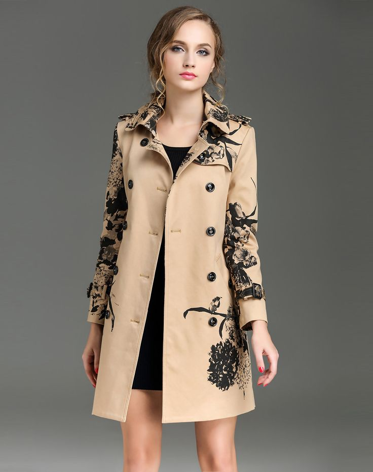 Shop Yellow Vintage Double Breasted Printed Belted Trench Coat. VIPme.com offers quality Khaki, Viva Vena Coats at affordable prices.