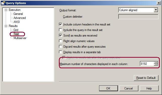 Prevent Truncation of Dynamically Generated Results in SQL Server Management Studio