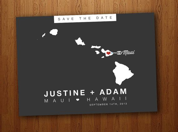 Hawaii Save the Date Wedding Printable Postcard by PrintsofBeauty, $17.00