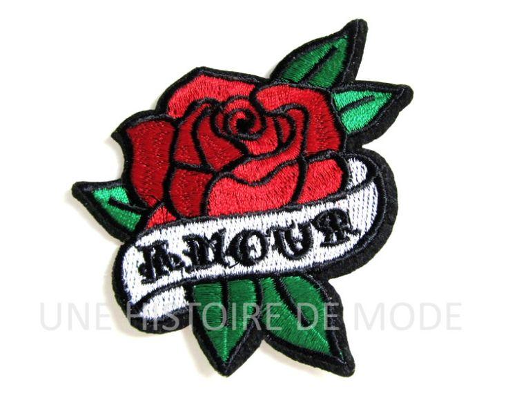Patch , écusson thermocollant fleur tatoo Amour à coudre ou repasser 83 x 80 mm - patch TATOO - brodé : Déco, Customisation Textile par une-histoire-de-mode