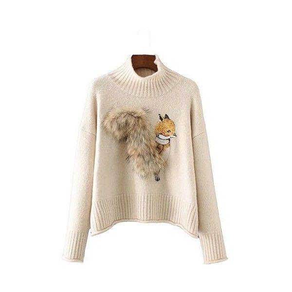Animal Embellished Beige Turtleneck Long Sleeve Sweater ($41) ❤ liked on Polyvore featuring tops, sweaters, beige, long sleeve pullover sweater, pink turtleneck sweater, long sleeve tops, beige sweater and pink turtleneck