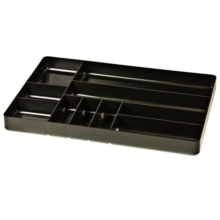 STEALTH 10 Compartment Black Tool Tray Drawer Organiser This 10 compartment black tool tray is stackable and fits shallow drawers. Easily trims for a custom fit. Holds more tools per square inch than other rails. Fuel and solvent resistant material. Lifetime guarantee. Made in the USA. Find a place for everything in your toolbox (or anywhere else) with our impact resistant tray organiser. www.justprotools.com.au