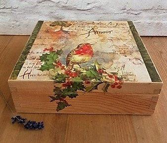 Bird Decorated Wood Box Storage Box Bird Wood Box by SCWVintage
