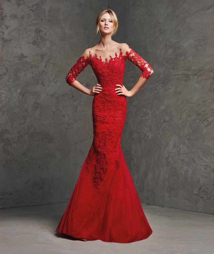 Statement red lace evening gown