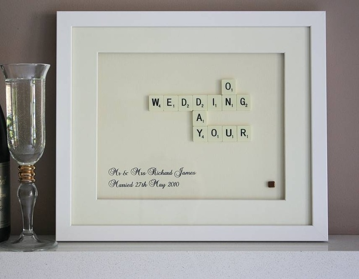 Personalized Wedding Day Scrabble Art: DIY on mat board and leave opening so they can include a photo from the wedding day.