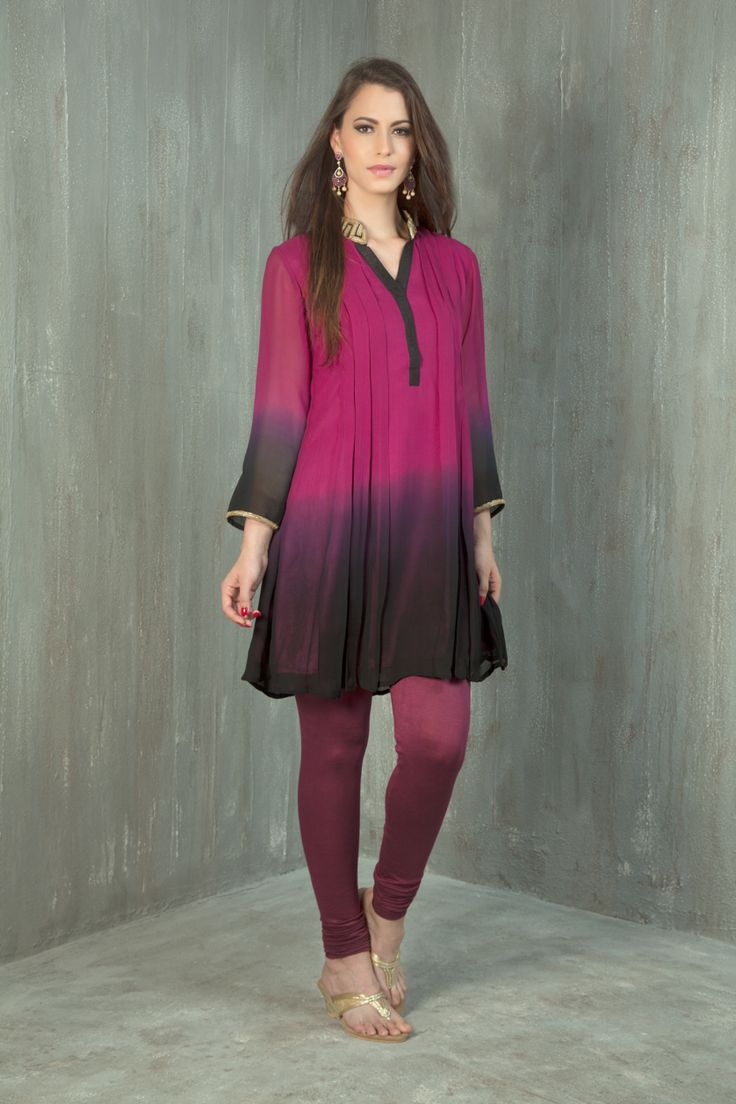 Shaded georgette kurti embellished with leather work
