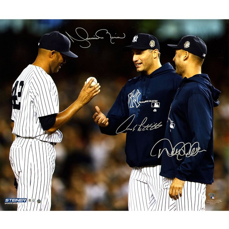 Derek Jeter, Andy Pettitte & Mariano Rivera Close Up On Mound Triple Signed 20x24 Photo (MLB Auth) Legendary Yankees Derek Jeter Andy Pettitte and Mariano Rivera have personally hand-signed this 20x24