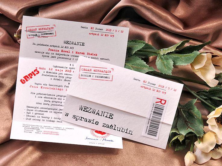 Zaproszenia ślubne kalendarz/bilet do teatru/wezwanie /telegram/karty do gry 02/wezw/z