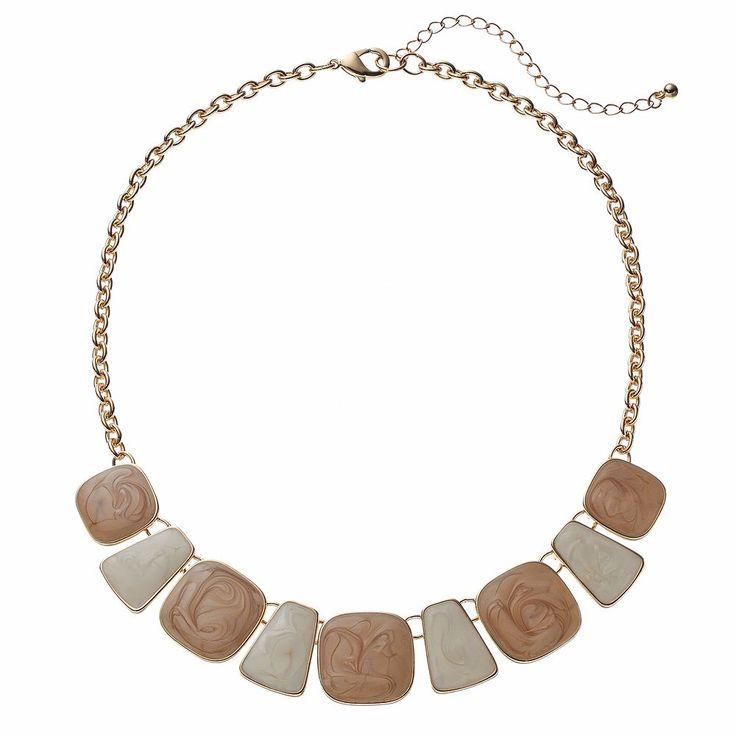 Geometric Swirl Inlay Necklace, Women's, Brown