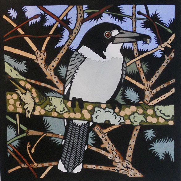 Butcher Bird by Kit Hiller - printmaker - Tasmanian artist