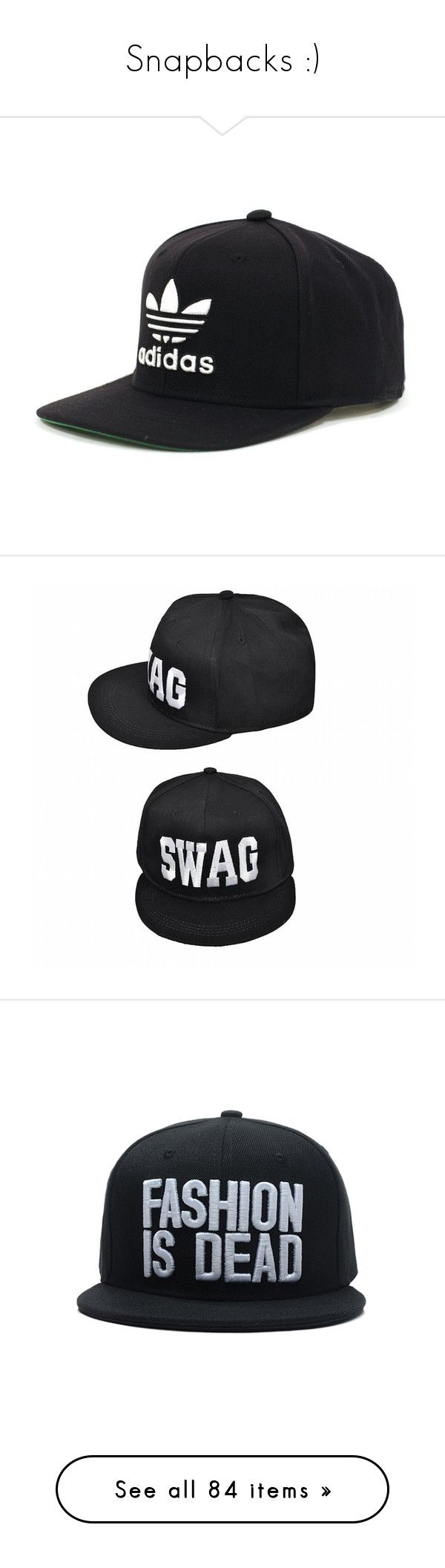 """""""Snapbacks :)"""" by coolcat000 ❤ liked on Polyvore featuring accessories, hats, black, black white hat, black and white snapback hats, snap back hats, black white snapback, flat hats, black cap and caps hats"""