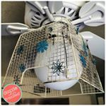 When you just cant live with a white builders ceiling fan you give it a fun eclectic look with a metal basket and vintage flowers farmhousedesign ceilingfan eclecticdecor vintagechic craftymom dazzlewhilefrazzled