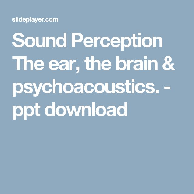 Sound Perception The ear, the brain & psychoacoustics. - ppt download
