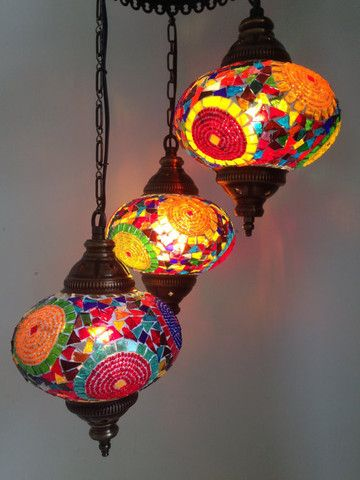 Traditional Turkish Mosaic Chandelier with 3 Hand made Mosaic Bulbs - Sophie's Bazaar - 3