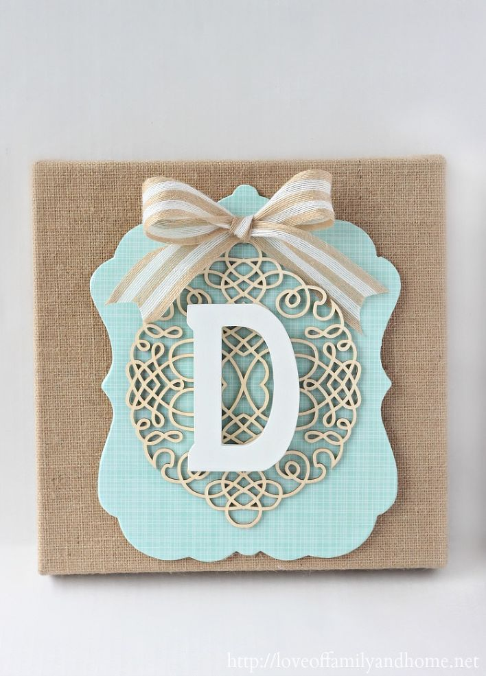 DIY Layered Burlap Monogram - I made this simple burlap monogram with supplies from Michaels! I used mod podge to adhere the scrapbook paper to the wooden plaqu…