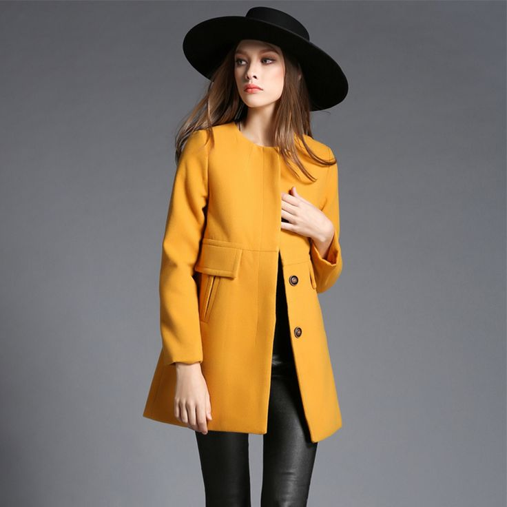 New Design 2015 Winter Coat Women Yellow Wool Coat Trench Oversize Warm Woolen Women's coat European Fashion Women's clothing