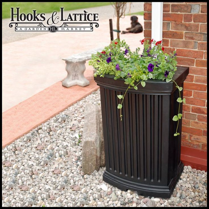Black Mansfield Rain Catcher $219.99. Really great idea for saving water! Rainwater is better to water flower beds with, so this is an awesome idea. I saw this on a show not too long ago. You can hook up your hose and water your garden too.