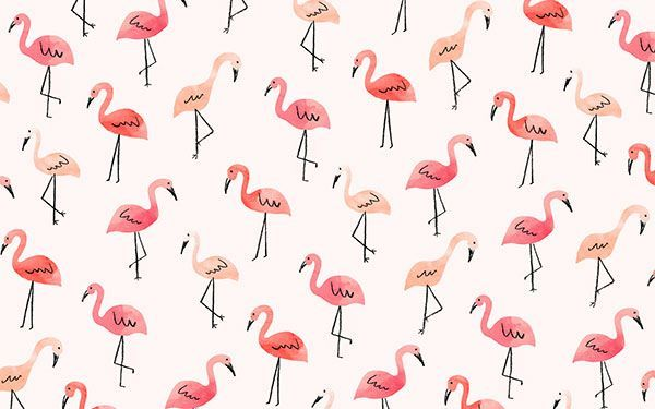 The cutest flamingo desktop wallpaper by Jen B. Peters for LaurenConrad.com: