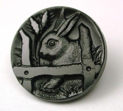 Antique Black Glass Button Bunny Rabbit Behind Fence Design