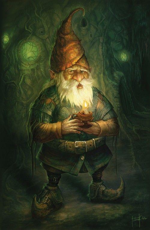 GNOME = (FOLKLORE EUROPEEN) Petite créature humanoïde légendaire de très petite taille, ayant une vie souterraine, et une grande connaissance des secrets telluriques. (Illustration : ARTEMIS KOLAKIS - Gnome)