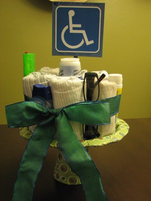 """40th birthday gift -- """"40 DEPENDS on you!"""" Depends cake with Bengay, Maalox, reading glasses, pill box and Tums"""