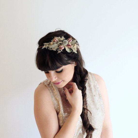Dried Flower Crown Eucalyptus Flower Crown by OhDinaFlowerCrowns