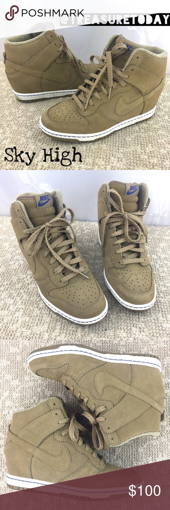 Like New! Nike Dunk Sky High Hidden Wedge Sneakers Beautiful khaki / brown Suede Leather Hidden Wedge Sneakers. Worn only once for a couple of hours- excellent condition. Super comfortable, just a tad too big for me. My loss-your gain. No box. Bundle 2 or more items to get %10 off. 💖 Nike Shoes Wedges