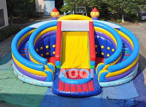 inflatable swimming Circle slide with ball pool, swimming pool slides, ground swimming pools