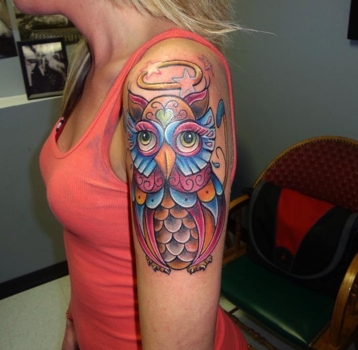 bad ass color owl tattoo by kevin gordon at skin city tattoo studio nc | Tattoo.com