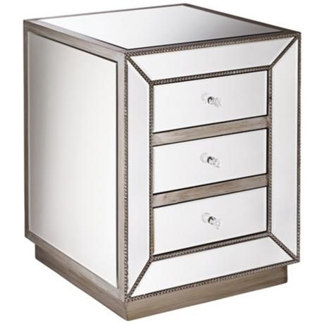 Antique Silver 3-Drawer Mirrored Nightstand -