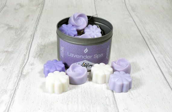 Lavender Spa: Scented Wax Melts Tin of 12 by WildfireCandleCo £4.99