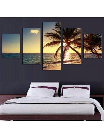 Sunset Coconut Tree Split Canvas Wall Paintings